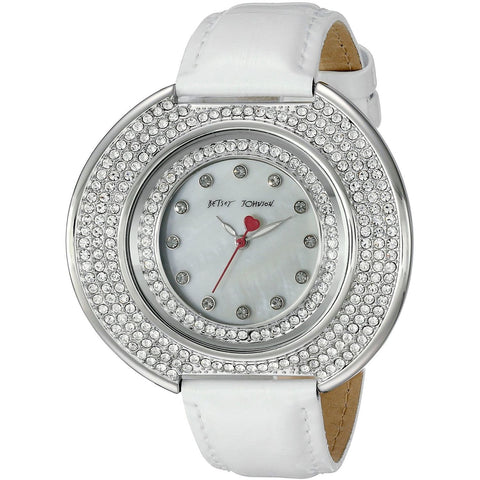Betsey Johnson BJ00486-01 Women's Analog Display Quartz Watch - White Leather Strap - Round 50mm Case