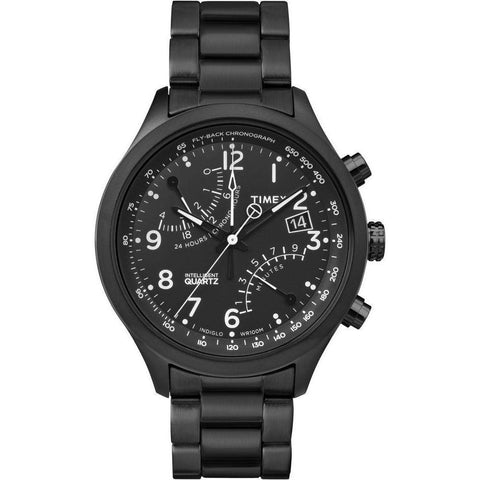 Timex TW2P60800 Intelligent Quartz Fly-Back Chronograph Men's Analog Display Quartz Watch, Black Stainless Steel Band, Round 43mm Case