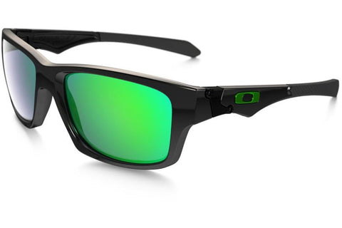 Oakley OO9135-05 Jupiter Squared Sunglasses, Polished Black Frame, Jade Iridium 56mm Lenses