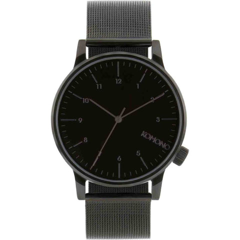 Komono KOM-W2352 Winston Royale Black  Analog Quartz Watch, Black Stainless Steel Band, Round 41mm Case