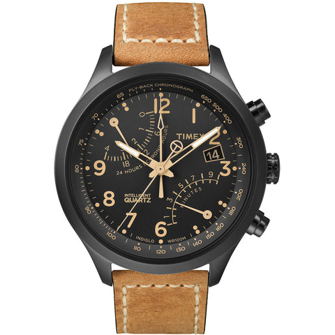 Timex T2N700 Intelligent Quartz Fly-Back Chronograph Analog Display Quartz Watch - Tan Leather Band - Indiglo Night Light
