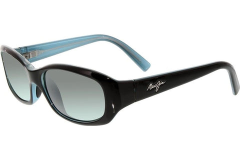 Maui Jim 219-03 Punchbowl Sunglasses, Black with Blue Frame, Neutral Grey Polarized 54mm Lenses