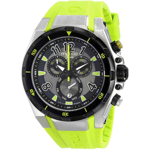 Mulco MW1-81197-715 Fondo Full Unisex Analog Display Swiss Quartz Watch, Green Silicone Band, Round 47mm Case