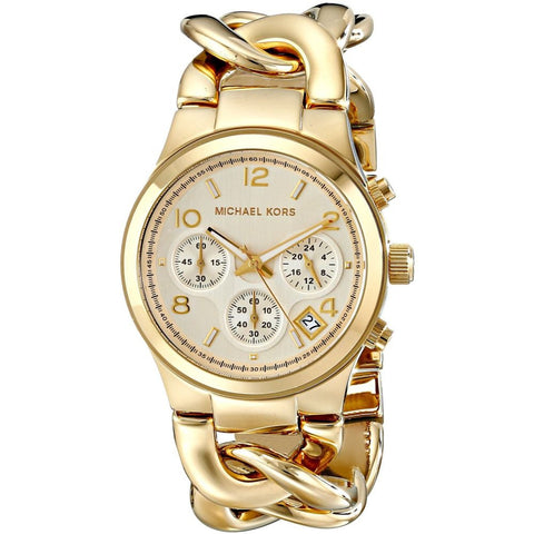 Michael Kors MK3131 Runway Twist Analog Display Chronograph Quartz Watch, Gold-Tone Stainless Steel Interlocking Chain Band, Round 37mm Case