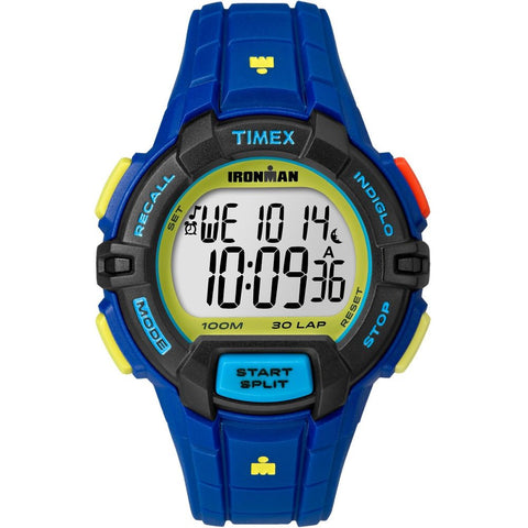 Timex TW5M02400 Ironman Rugged 30 Full Size Men's Digital Display Quartz Watch, Blue Resin Band, Round 45mm Case