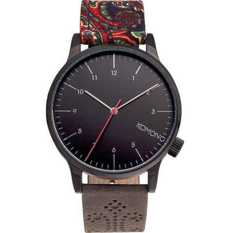 Komono KOM-W2200 Unisex Winston Galore Paisley Charcoal Analog Quartz Watch, Multicolor Leather Band, Round 41mm Case