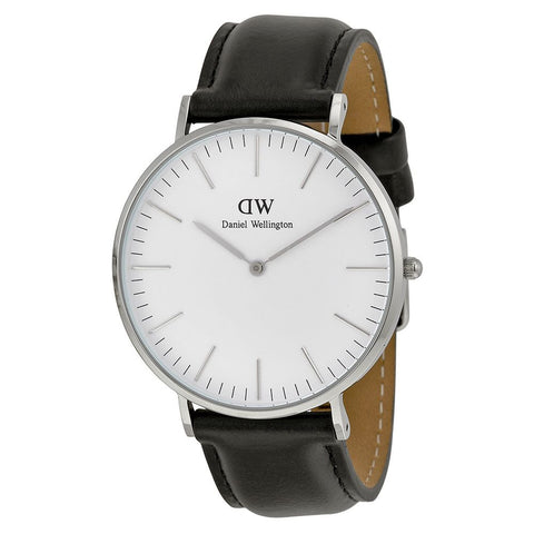 Daniel Wellington 0206DW Sheffield Quartz Analog Men's Watch, Black Leather Band, Silver 40mm Case