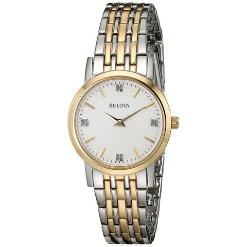 Bulova 98P115 Women's Diamond Analog Display Quartz Watch, Two-Tone Stainless Steel Band, Round 27mm Case