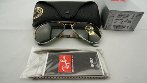 Ray-Ban RB3025JM 171 Aviator Camouflage Sunglasses, Gold/Multi-Colored Frame, Green Classic 58mm Lenses