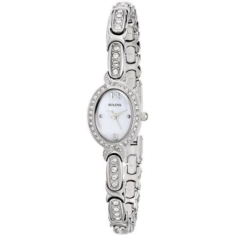 Bulova 96L199 Crystal Analog Display Quartz Watch, Silver Stainless Steel Band, Oval 20mm Case