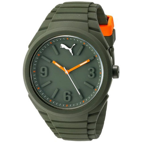 Puma PU103592007 Gummy Unisex Analog Display Quartz Watch, Army Green Silicone Band, Round 46mm Case