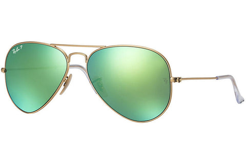 Ray-Ban RB3025 112/P9 Aviator Flash Lenses Sunglasses, Gold Frame, Polarized Green Flash 55mm Lenses