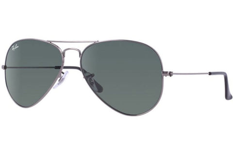 Ray-Ban RB3025 W0879 Aviator Metal Sunglasses, Gunmetal Frame, Green Classic 58mm Lenses