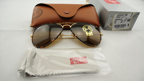 Ray-Ban RB3025JM 001 Aviator Full Color Sunglasses, Tortoise Gold Frame, Brown Classic 58mm Lenses