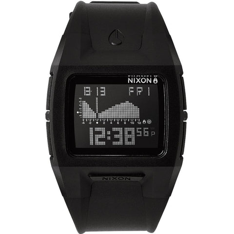 Nixon A289867 Men's Lodown II Black/Positive Digital Watch, Black Polyurethane Band, Rectangle 41mm Case