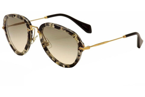 Miu Miu MU03QS-DHE3H2 Sunglasses, Havana Marble Frame, Brown Gradient 55mm Lenses