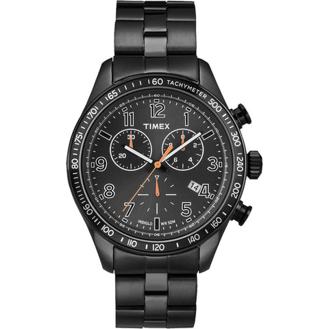 Timex T2P183 Chronograph Analog Display Quartz Watch, Black Stainless Steel Band, Round 42mm Case