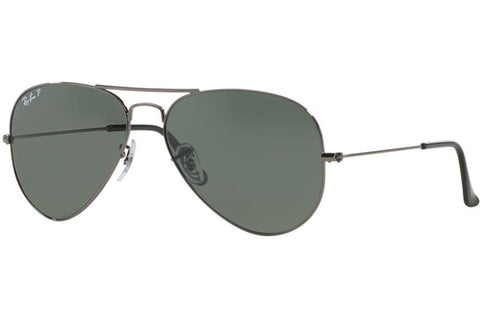 Ray-Ban RB3025 004/58 Aviator Classic Sunglasses, Gunmetal Frame, Polarized Green 58mm Lenses