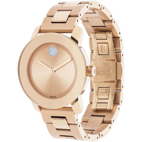 Movado 3600086 Bold Analog Display Quartz Watch, Rose Gold Ion-Plated Stainless Steel Band, Round 36mm Case