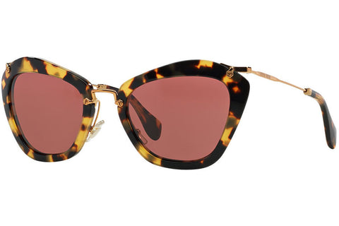 Miu Miu MU 10NS 7S00A0 Sunglasses, Yellow Havana Frame, Brown Red 55mm Lenses