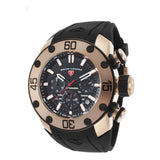 Swiss Legend SL-10616SM-RG-01-BB Lionpulse Men's Analog Display Quartz Watch, Black Silicone Band, Round 50mm Case