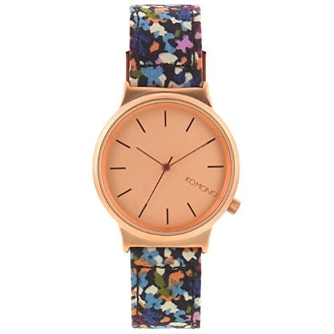 Komono KOM-W1825 Women's Wizard Print Series French Garden Analog Display Quartz Watch, Multicolour Fabric Band, Round 36mm Case