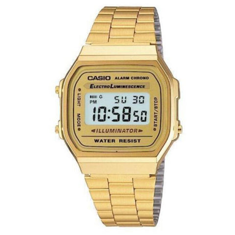 Casio A168WG-9W Unisex Digital Display Quartz Watch, Gold Stainless Steel Band, Square 36.30mm Case