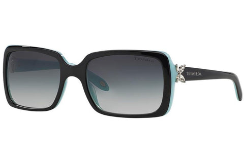 Tiffany TF4047B 8055/3C Victoria Sunglasses, Black/Blue Frame, Gray Gradient 55mm Lenses