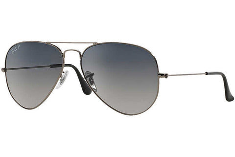 Ray-Ban RB3025 004/78 Aviator Gradient Sunglasses, Gunmetal Frame, Polarized Blue/Gray Gradient 58mm Lenses