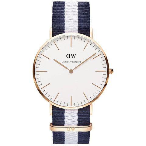 Daniel Wellington 0104DW Glasgow Analog Display Quartz Watch, Striped Nylon Band, Round 40mm Case