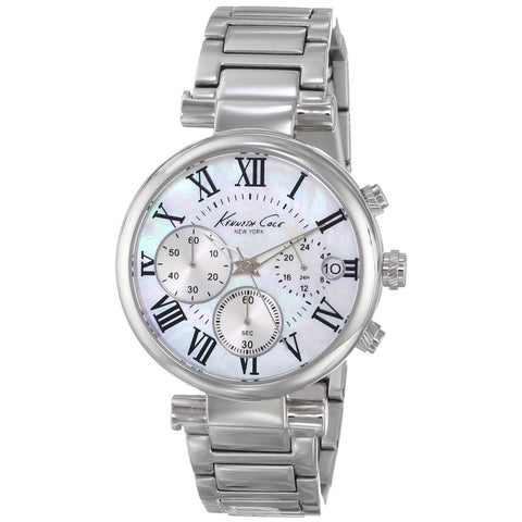 Kenneth Cole KC4971 Women's Analog Display Quartz Watch, Silver Stainless Steel Band, Round 36mm Case