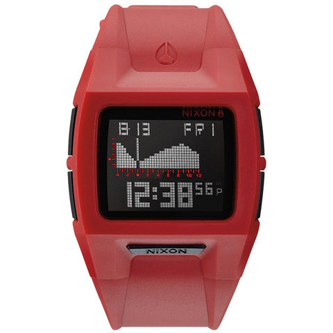 Nixon A289200 Men's Lodown II Red Digital Watch, Red Polyurethane Band, Rectangle 43mm Case