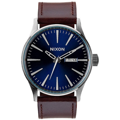 Nixon A1051524 Men's Sentry Leather Blue/Brown Analog Watch, Brown Leather Band, Round 42mm Case