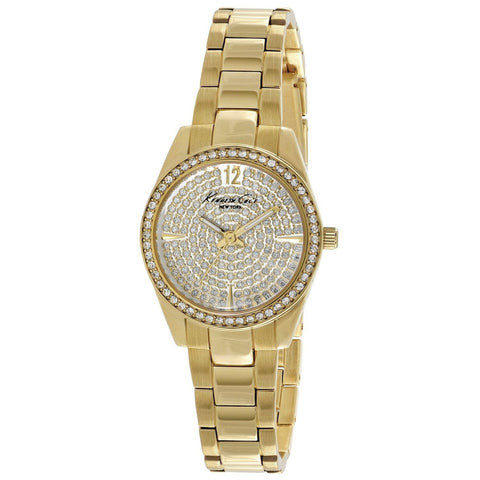 Kenneth Cole KC4979 Women's Analog Display Quartz Watch, Gold Stainless Steel Band, Round 28mm Case