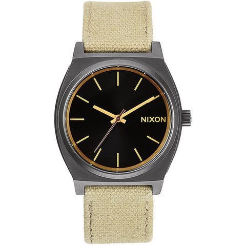 Nixon A0451711 Men's Time Teller Khaki/Camo Analog Watch, Khaki Canvas Band, Round 37mm Case