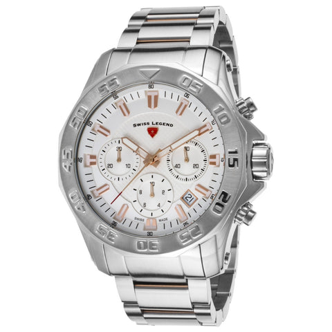 Swiss Legend  SL-16199SM-SR-22S Islander Men's Analog Display Quartz Watch, Silver Stainless Steel Band, Round 48mm Case