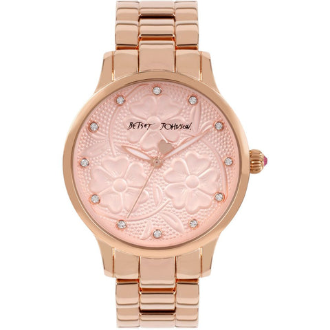 Betsey Johnson BJ00539-02 Analog Display Quartz Watch, Rose Gold Stainless Steel Band, Round 40mm Case