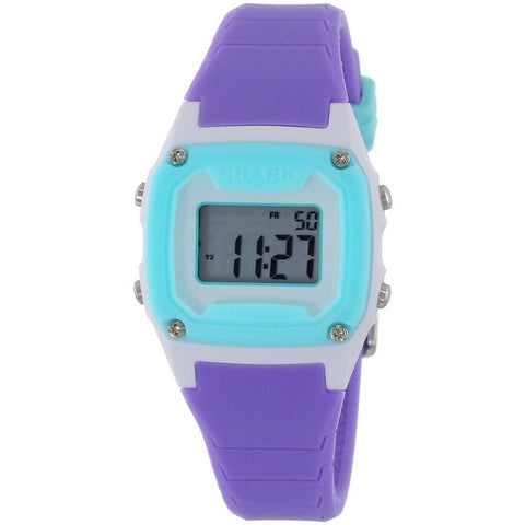 Freestyle Unisex 102275 Shark Classic Mini Turquoise/Purple/White Digital Watch, Purple Silicone Band, Square 30mm Case