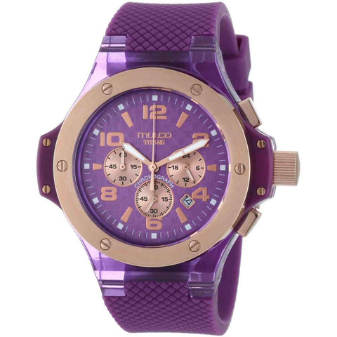 Mulco Unisex MW2-9619-053 Titans Analog Watch, Lavander Silicone Band, Round 45mm Case