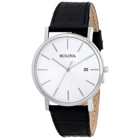 Bulova 96B104 Classic Analog Display Quartz Men's Watch, Black Leather Band, Round 37mm Case