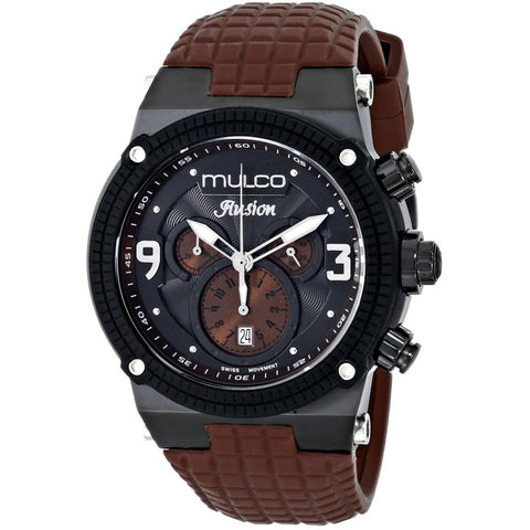 Mulco MW3-12140-035 Ilusion Chronograph Swiss Quartz Watch, Brown Rubber Strap, Round 46 mm Case