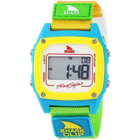 Freestyle Women's FS84862 Shark Clip White/Neon Digital Watch, Yellow/Green Nylon Band, Square 38mm Case