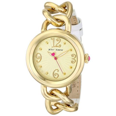 Betsey Johnson BJ00350-05 Women's Analog Display Quartz Watch, Gold Metal & White Leather Band, Round 38mm Case