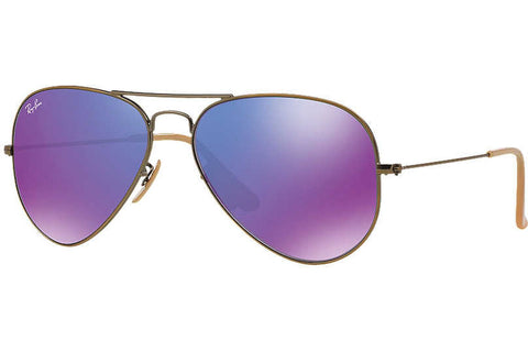 Ray-Ban RB3025 167/1M Aviator Flash Lenses Sunglasses, Bronze-Copper Frame, Violet Mirror 55mm Lenses
