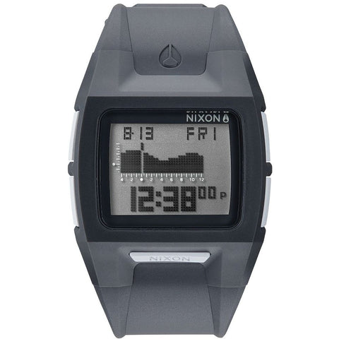 Nixon A289147 Men's Lodown II Charcoal Digital Watch, Grey Polyurethane Band, Square 43mm Case