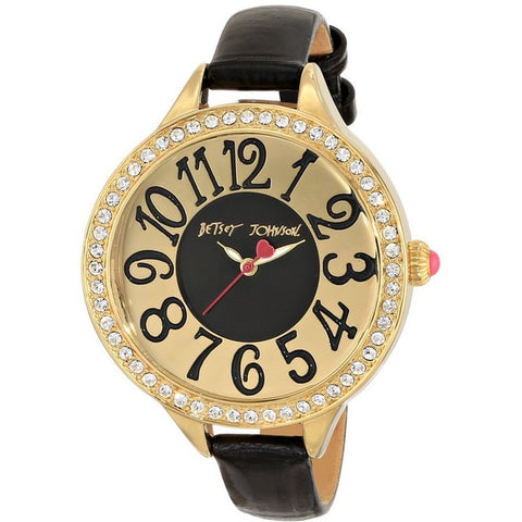 Betsey Johnson BJ00387-02 Women's Analog Display Quartz Watch, Black Leather Band, Round 47mm Case