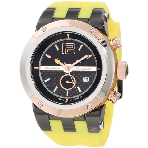 Mulco Unisex MW5-1621-095 Bluemarine Glass Analog Watch, Yellow Silicone Band, Round 47mm Case