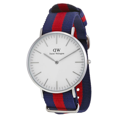 Daniel Wellington 0201DW Oxford Quartz Analog Men's Watch, NATO Nylon Band, Silver 40mm Case