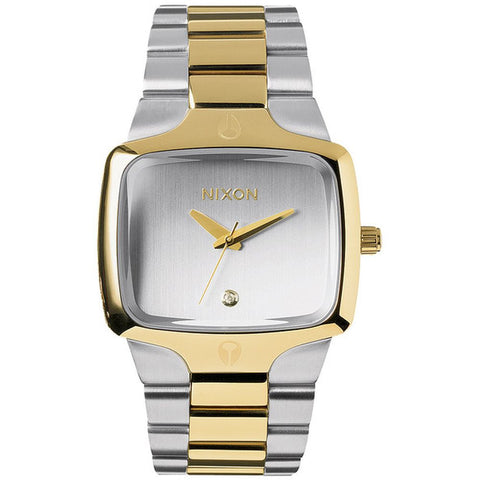 Nixon A1401431 Men's Player Silver/Light Gold Analog Watch, Silver/Light Gold Stainless Steel Band, Square 40mm Case