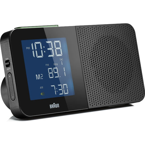 Braun BNC010BK-SRC LCD Display Radio Alarm Clock, Global Radio Controlled, Black Rectangle Case